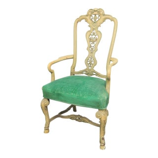 Victorian French Style Carved Throne Chair For Sale