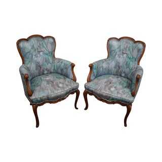 Vintage French Bergere Arm Chairs - A Pair For Sale