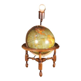 "Antique George F Cram Table Desk Lamp Terrestrial 10.5"" World Globe on Stand Vintage For Sale"