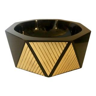 Black Glass & Brass Geometric Bowl For Sale