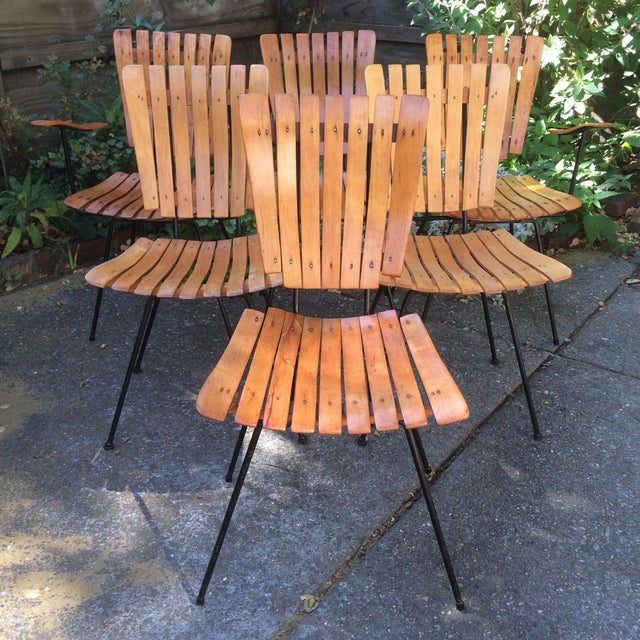 Lovely set of vintage Umanoff slat chairs, 4 side chairs and 2 captains chairs. 4 were recently refinished, 2 are in...