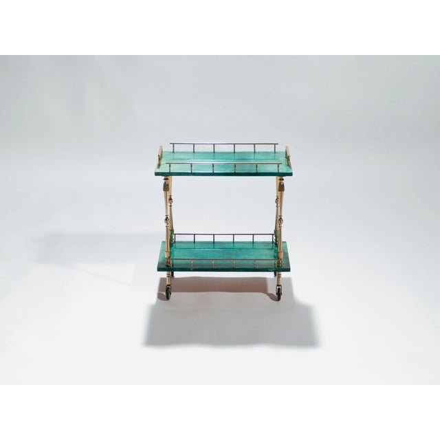 1950s Small Aldo Tura Goatskin Parchment Bar Cart, 1950s For Sale - Image 5 of 10