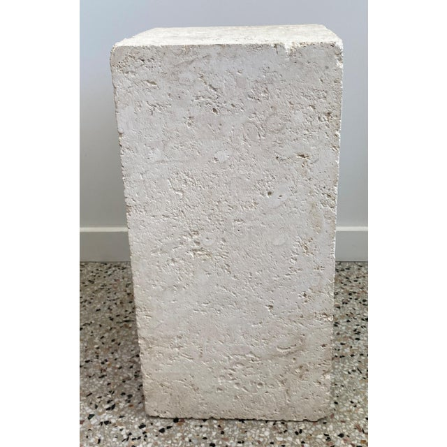 """Vintage Low 24"""" Pedestal in Cream Color Natural Travertine Stone from a Palm Beach estate. This stylish, clean-lined..."""