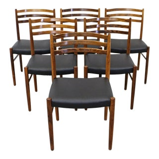 Set of 6 Mid-Century Danish Modern Rosewood Leather Dining Chairs For Sale