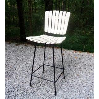 Mid Century Arthur Umanoff Wood Slat Bar Stool Tall Chair Preview