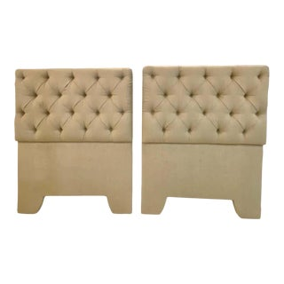Tufted Linen Twin Headboards - a Pair For Sale