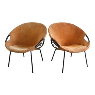 """1960s Vintage Lusch Erzeugnis Circle """"Balloon"""" Armchairs- A Pair For Sale"""