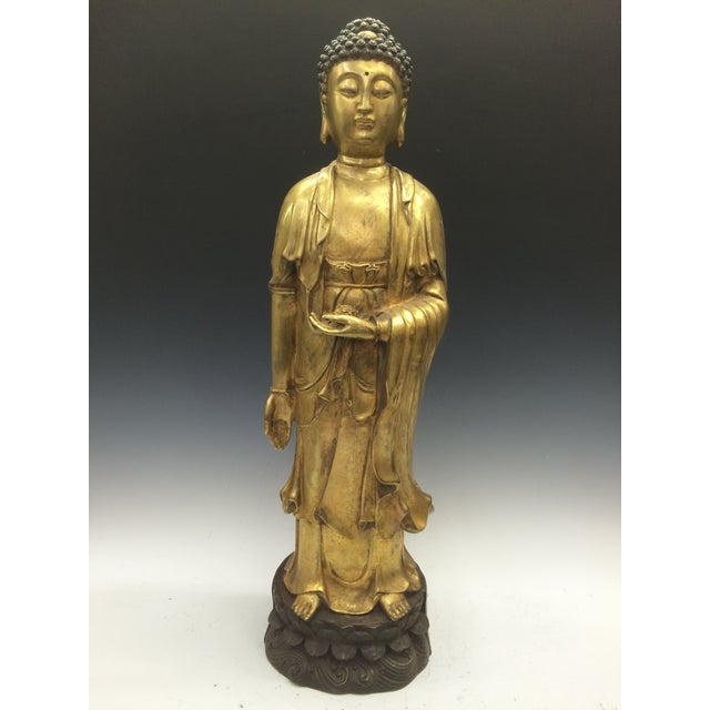 Chinese Art Gold Gilt Bronze Standing Kwan Yin Sculpture - Image 2 of 10