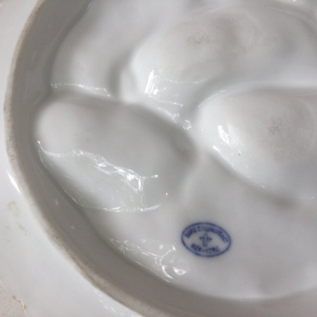 Ceramic Limoges French Oyster Plate Porcelain With Turkey Pattern For Sale - Image 7 of 12