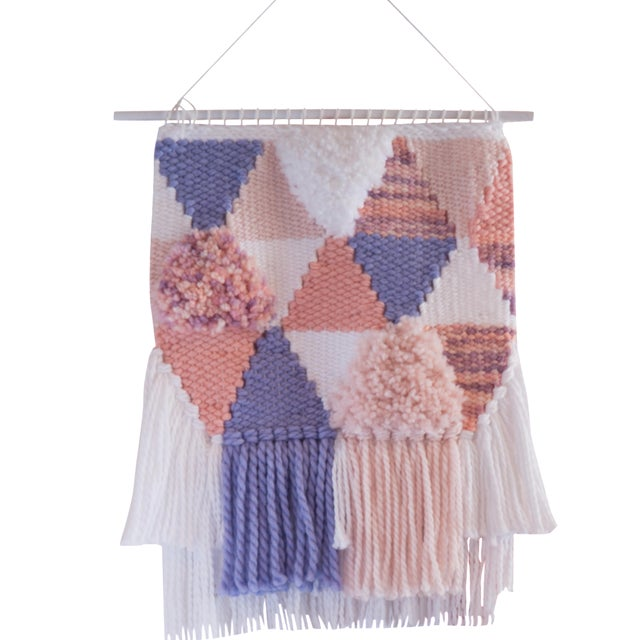 Handwoven Pink & Purple Wall Hanging - Image 1 of 6