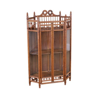 Antique Victorian Stick & Ball Hanging Corner Cabinet For Sale
