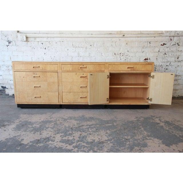 Burlwood Burl Wood Long Credenza or Bar Cabinet by Henredon For Sale - Image 7 of 13