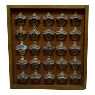 20th Century Americana Starr-X 25 Mounted Vintage Bottle Cap Openers in Wood Frame For Sale