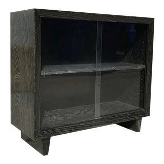 1960s Mid-Century Modern Paul Laszlo Ebonized Cerused Oak Bookcase For Sale