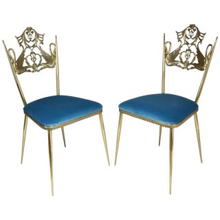 Mid 20th Century Italian Brass Swan Chairs - a Pair For Sale