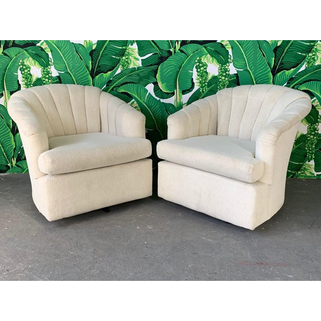White Vintage Channel Back Tufted Swivel Club Chairs - Set of Two For Sale - Image 8 of 8