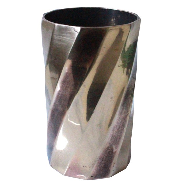 Solid Brass Cylinder Vase With Twist Design - Image 1 of 5