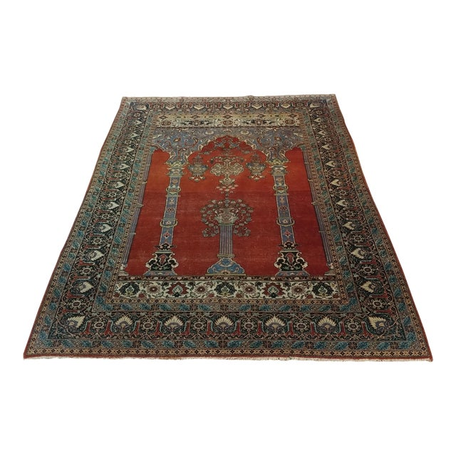 Antique Hand Made Persian Mashhad Rug - 4′4″ × 7′ For Sale