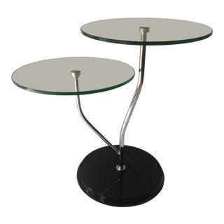 Mid-Century Modern Chrome Side Table With Two Level Round Glass Tops With Black Base For Sale