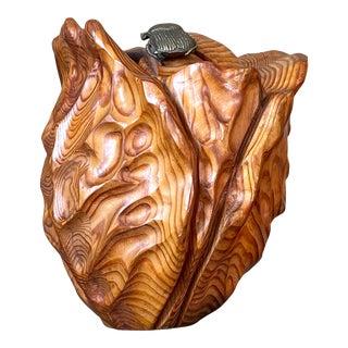 Vintage Hand Carved Folk Art Sculpture With Brass Beetle For Sale