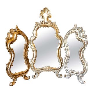 Hollywood Regency Three Fold Table Mirror in Gold Leaf For Sale