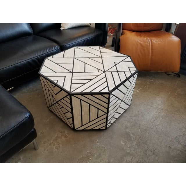 Modern West Elm Octoganol Coffee Table In Black White Bone Inlay - West elm geometric coffee table