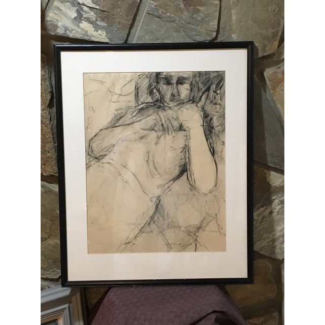Charcoal Vintage Original Charcoal Drawing of Male For Sale - Image 7 of 7