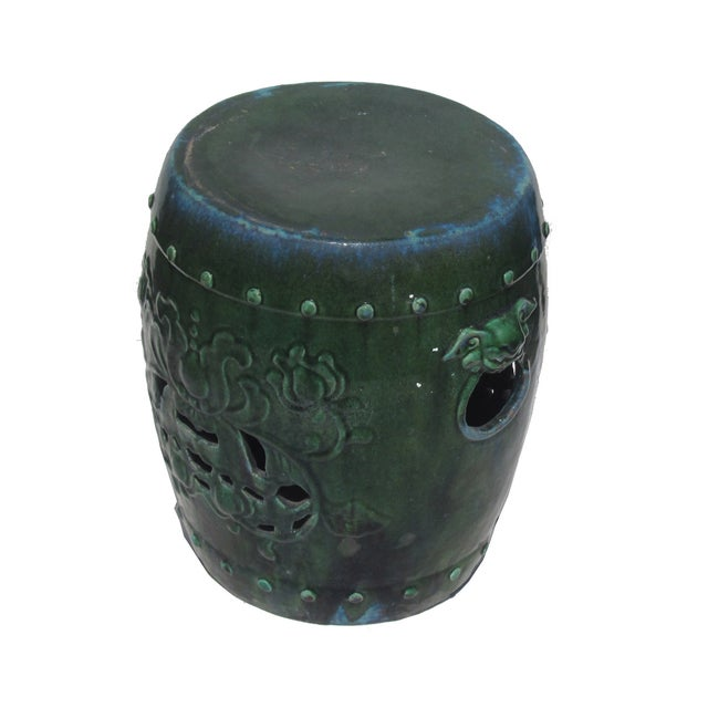 Chinese Green Round Lotus Clay Garden Stool - Image 1 of 4