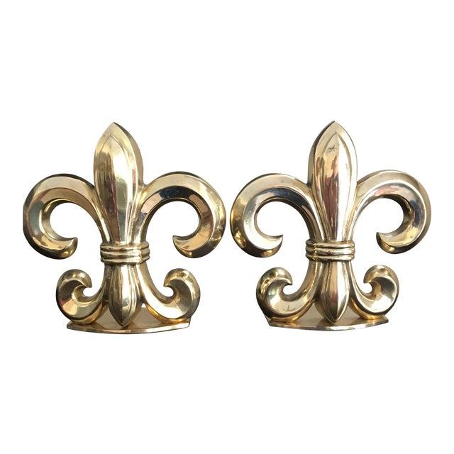 Fleur De Lis Solid Brass Bookends For Sale