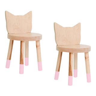 Nico & Yeye Kitty Kids Chair Solid Maple and Maple Veneers Pink - Set of 2 For Sale