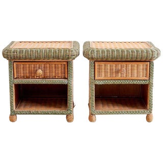 Pair of French Wicker Nightstands Attributed to Grange For Sale