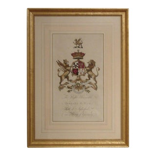 Pair of 18th Century Hand-colored Armorial Engravings For Sale
