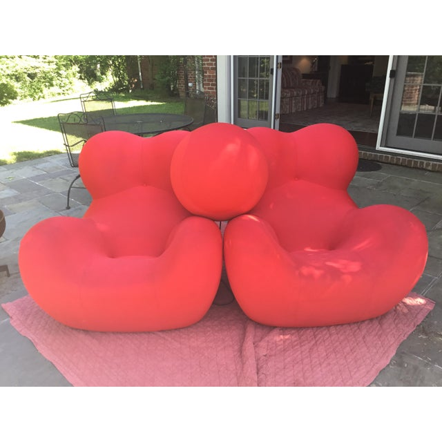 Textile B&b Italia Up Series 2000 Gaetano Pesce Chairs & Ottoman - Set of 3 For Sale - Image 7 of 13