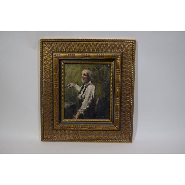 Late 20th Century Vintage Elderly Man Portrait Painting For Sale - Image 4 of 4