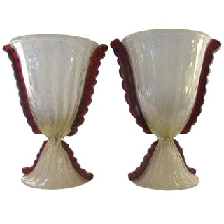 Barovier E Toso Grand Pearlized Murano Glass Lamps With Red Accents - a Pair For Sale