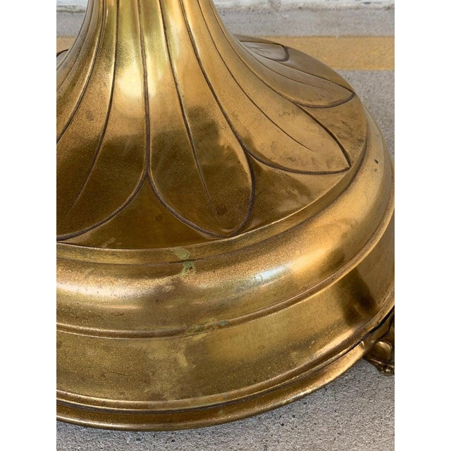 Antique English Brass and Mahogany Lion Motif Pub Table For Sale - Image 9 of 10