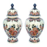 Image of 1950s Vintage Delft Hand-Painted Covered Jars Signed by the Artist P. Verhoeve- A Pair For Sale