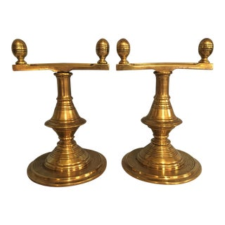 1800's English Victorian Brass Fire Tool Stands- 2 pc.