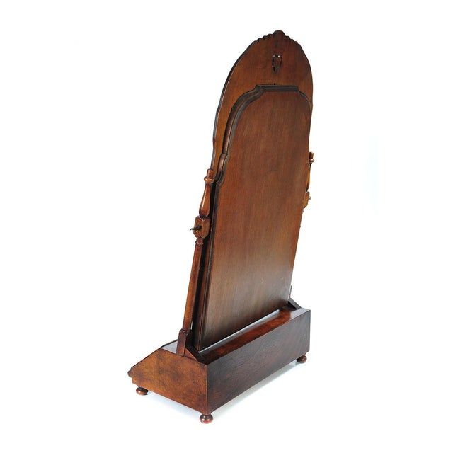 19th Century Carved Walnut Shaving Mirror For Sale - Image 4 of 9