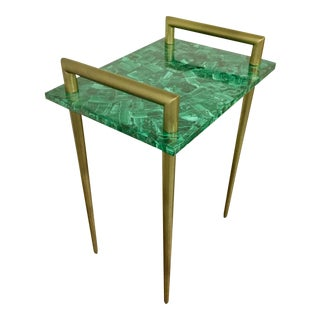 Metal Handle Bar Table With Malachite Stone Top