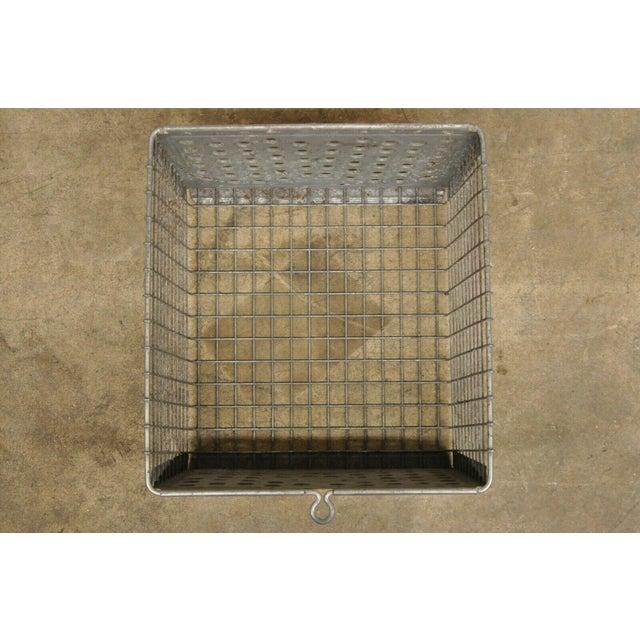 Metal Vintage Kaspar Industrial Wire Works Metal Perforated Storage Gym Locker Basket For Sale - Image 7 of 12