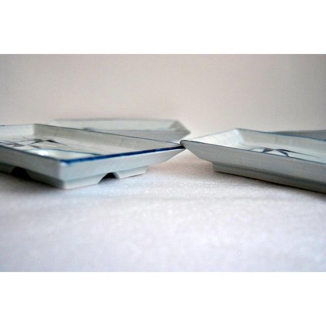 1960s Blue & White Celadon Yakizara Japanese Divided Plates - Set of 4 For Sale - Image 5 of 8