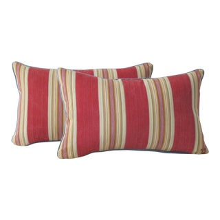 Antique 19th Centuy French Ticking Pillows - a Pair For Sale
