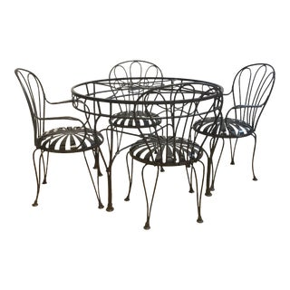French Art Vintage Iron Spring Chairs With Round Table- 5 Pieces For Sale