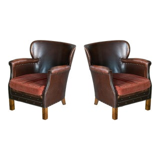 Otto Schulz Style Danish 1930s Pair of Club Chairs Brass Studded Brown Leather For Sale