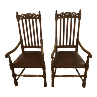 1920s Vintage Belgian Medieval Throne Chairs- A Pair For Sale