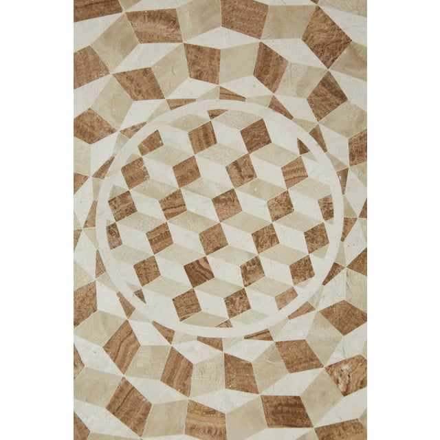 """1990s Modern Tessellated Woodstone """"Illusion"""" Plate on Iron Stand For Sale - Image 11 of 12"""