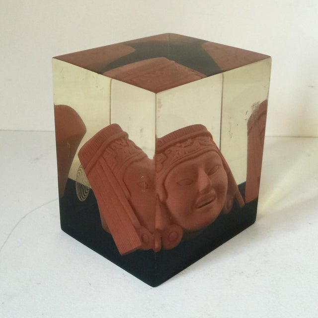 Lucite Paperweight with Aztec Mask - Image 2 of 8