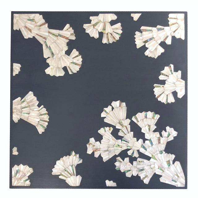 Modern Blue Coffee Table With Mother of Pearl Inlay For Sale - Image 9 of 12