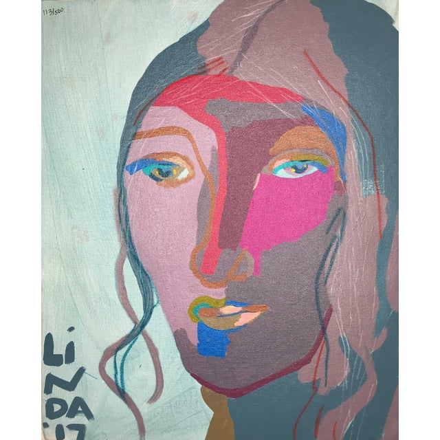 """Contemporary Abstract Portrait Painting """"This Is It, No. 2"""" - Framed For Sale - Image 12 of 12"""